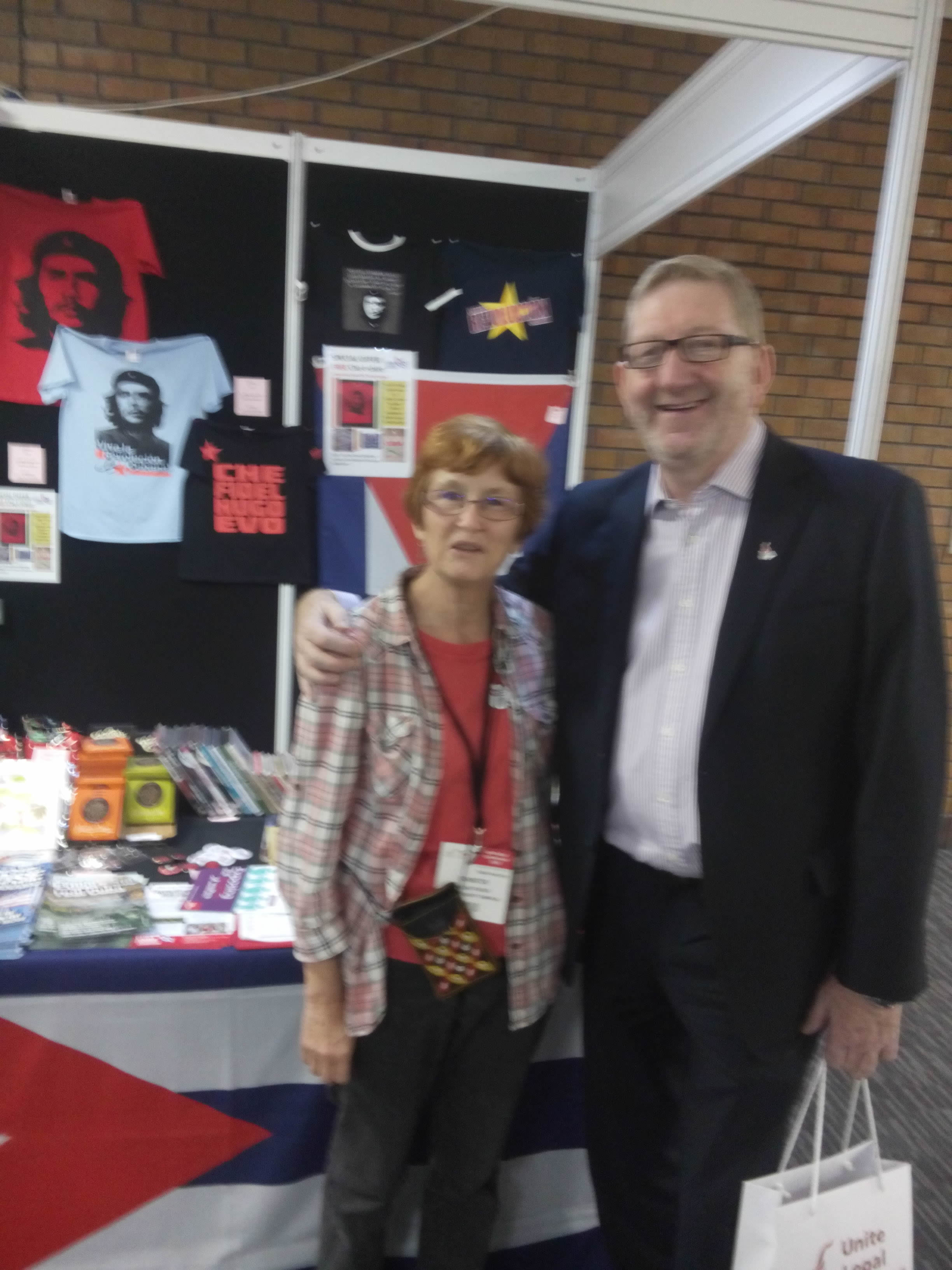 CSC stall at Unite the Union conference in Brighton. Pauline Fraser meets Len McCluskey.